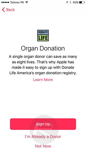 ios 10 beta 2 Organ-donation-in-Health-app