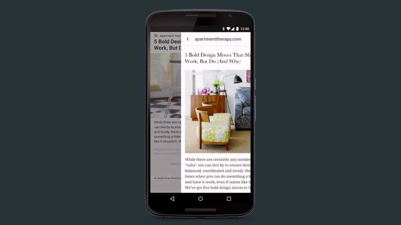 Una pestaña personalizable de Chrome abriéndose en la app de Pinterest