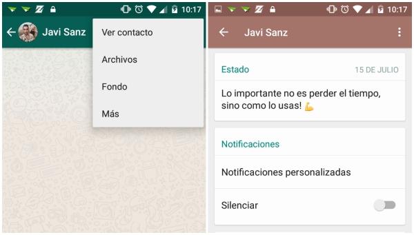 """Nuevas opciones dentro de """"Ver contacto"""": Notificaciones personalizadas y Silenciar"""