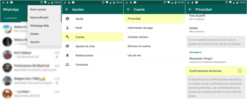 whatsapp check azul