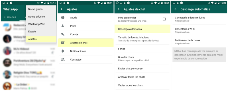 whatsapp descarga automatica