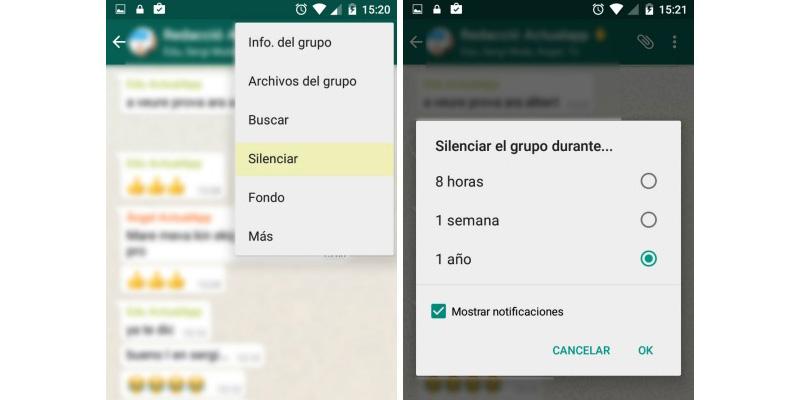 whatsapp silenciar grupo2