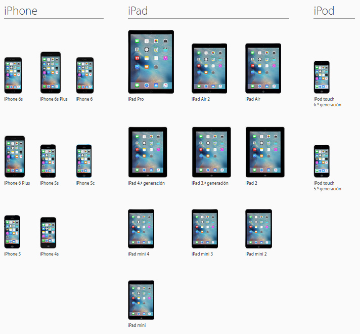 Compatibles iOS 9