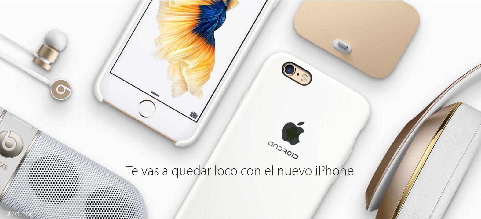 Una de las imágenes corporativas del nuevo iPhone con Android   Apple