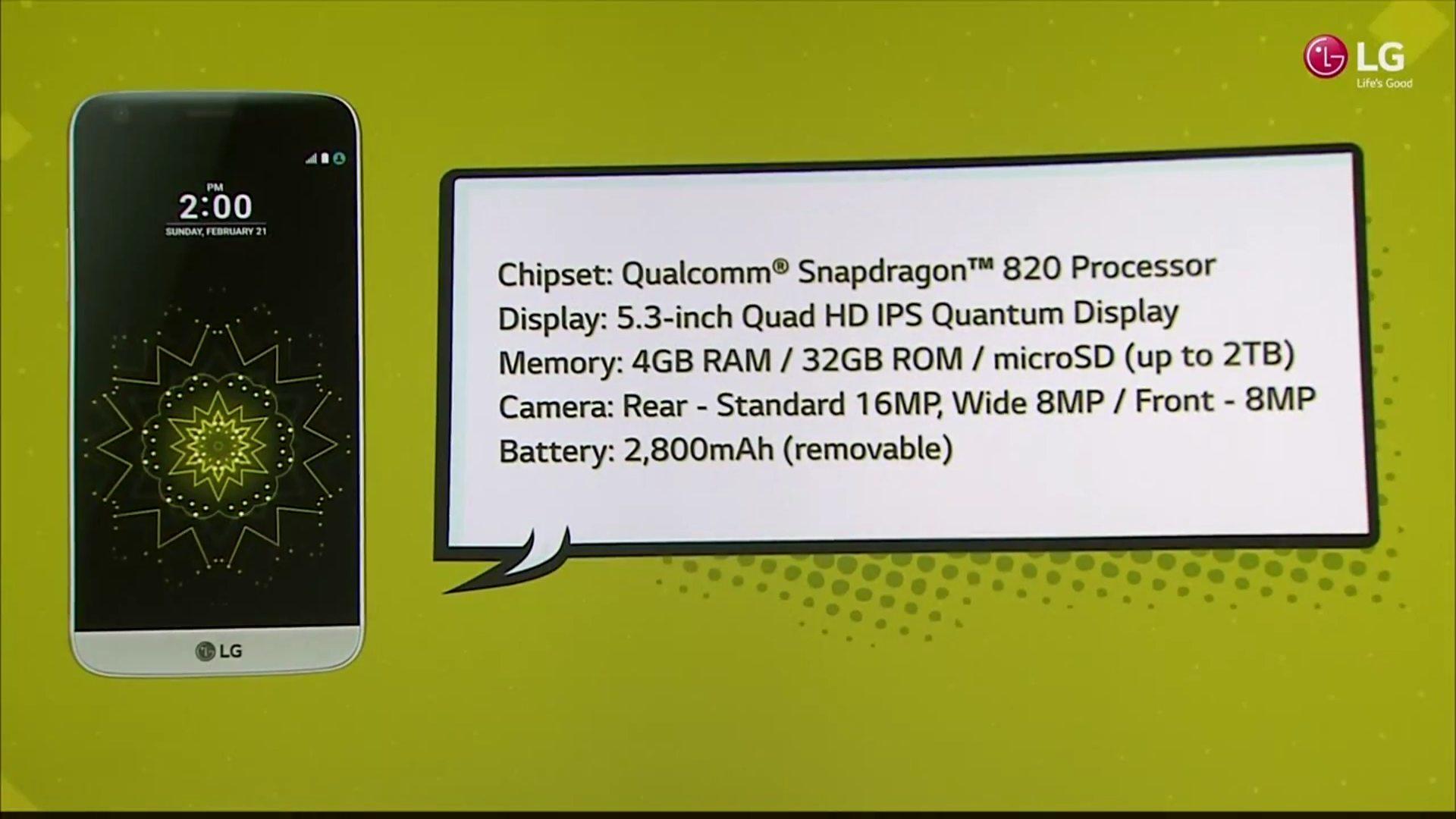 LG G5 especificaciones presentacion