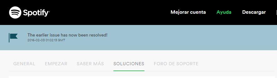 Spotify ya vuevle funcionar 3 febrero 2016
