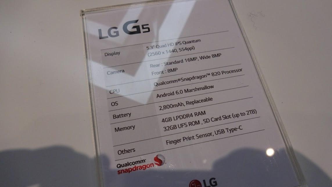 Especificaciones técnicas del LG G5.
