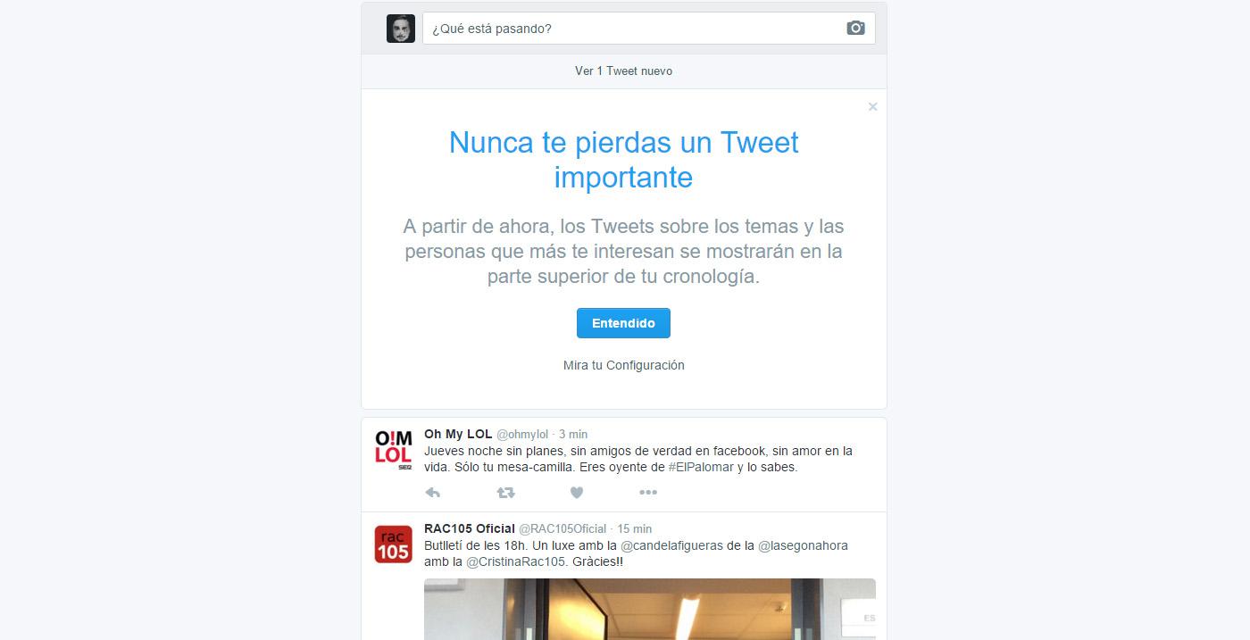 twitter cambia su cronologia tweets importantes primero