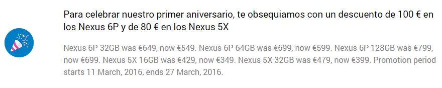 aniversario tienda google nexus 5x 6p