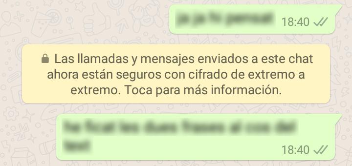 whatsapp cifrado de extremo a extremo chat individual