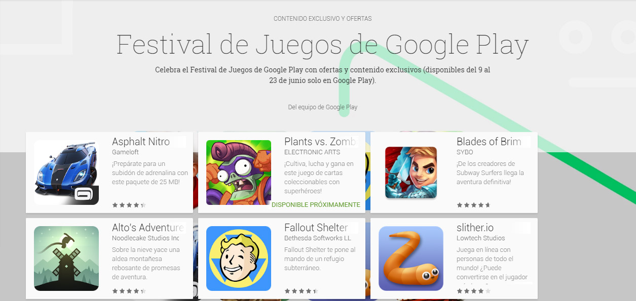 festival de juegos de google play