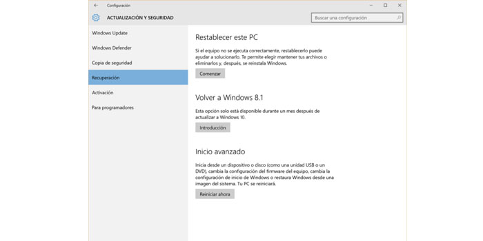 restaurar la versión de Windows