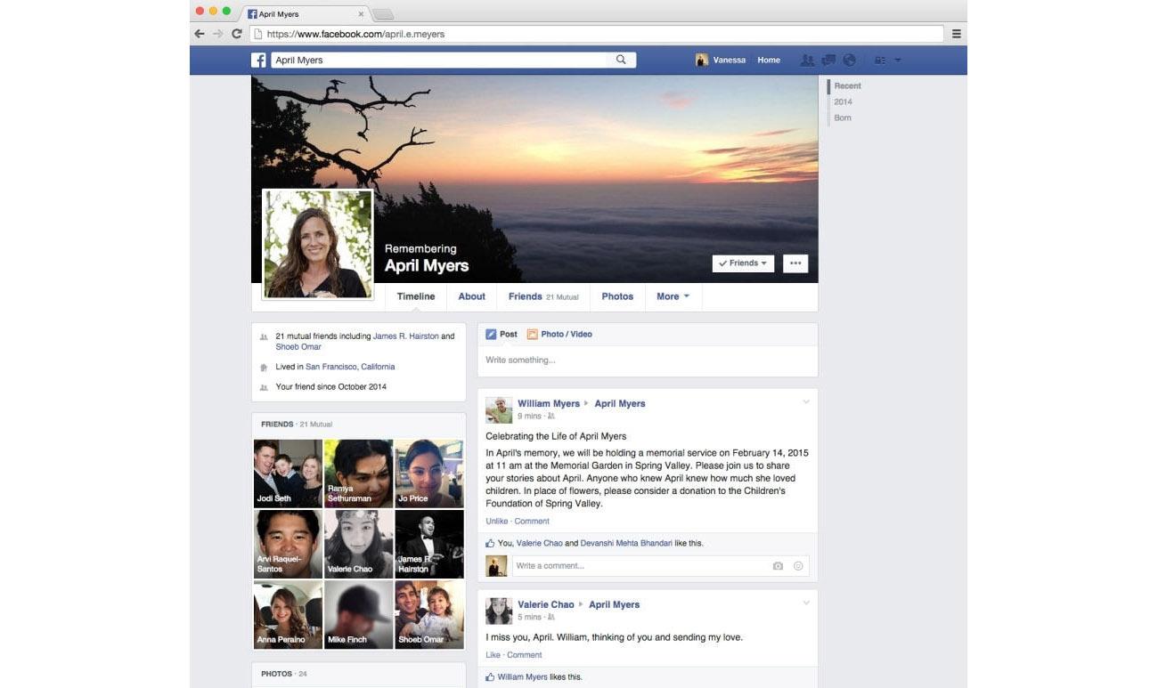 cuenta conmemorativa facebook contacto de legado grande