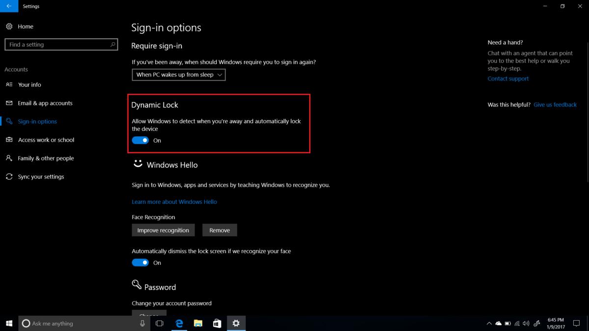 bloquear Windows 10 al alejarse