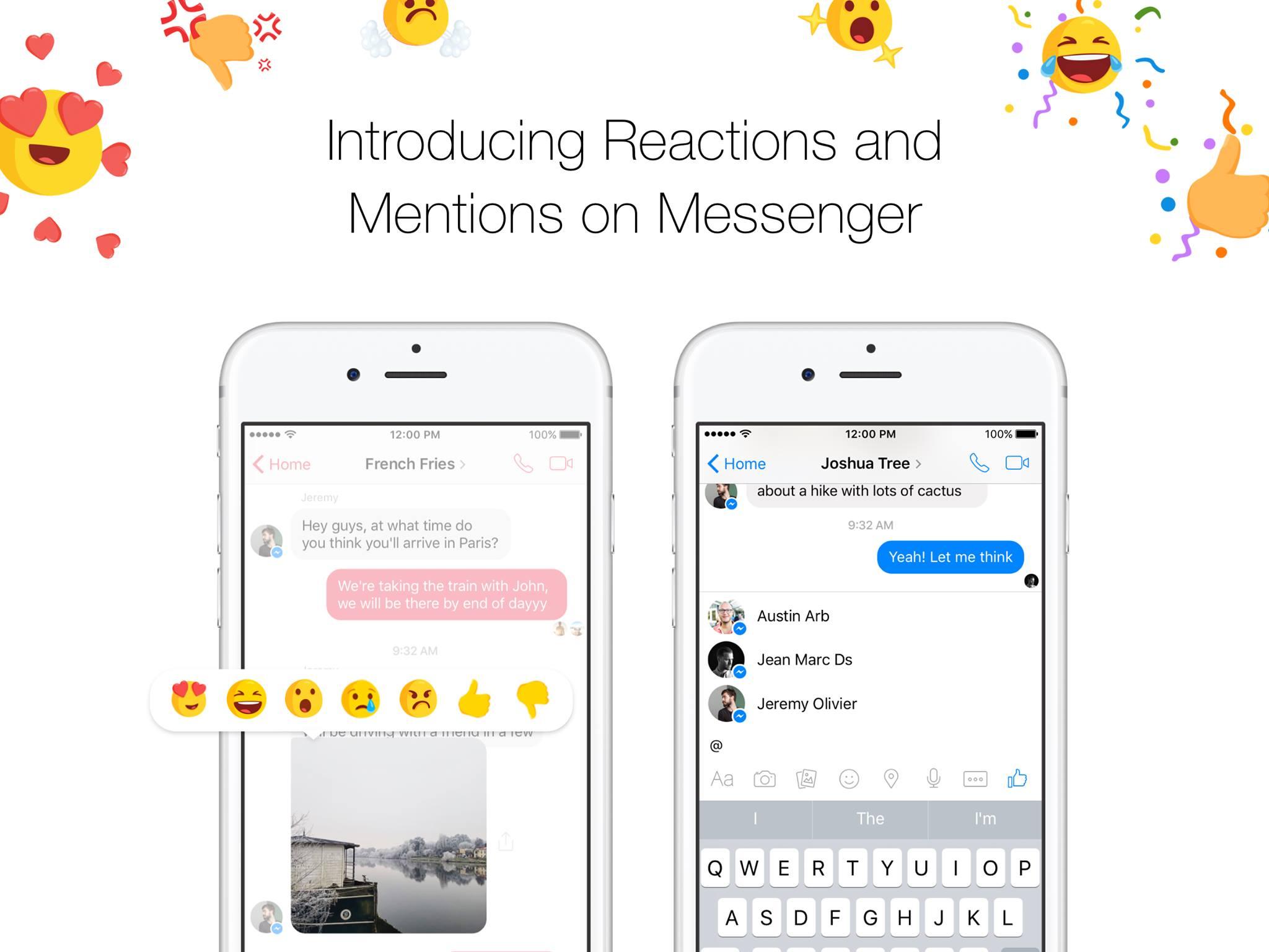 reacciones en messenger