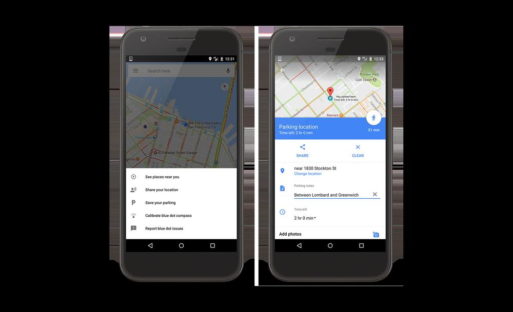 funcion aparcamiento de google maps