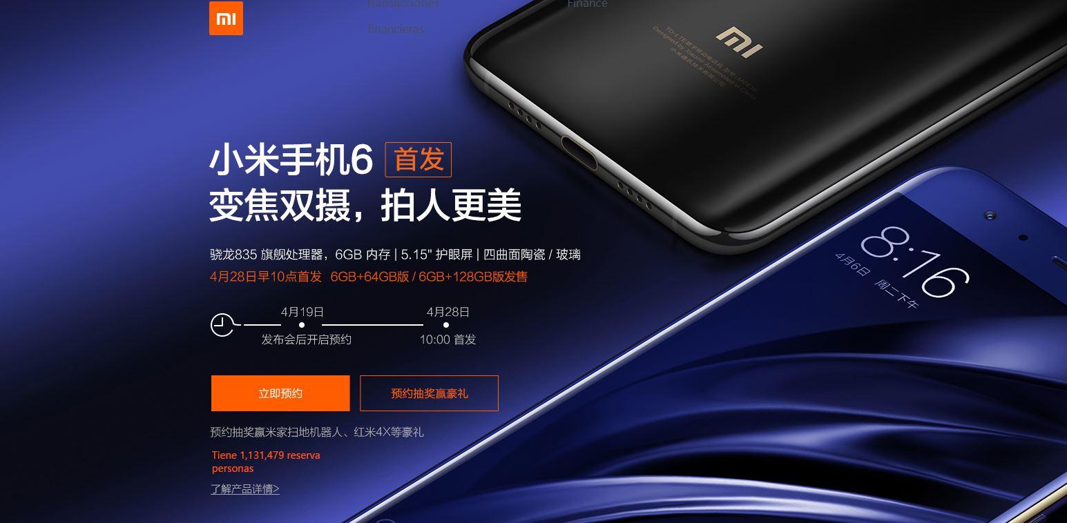 pre reservas del Xiaomi Mi 6