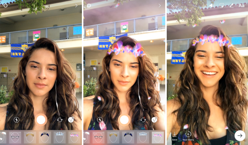 filtros en directo en Instagram Stories