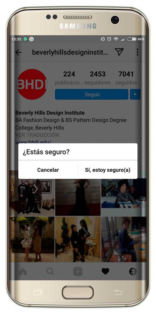 bloquear a un usuario en Instagram