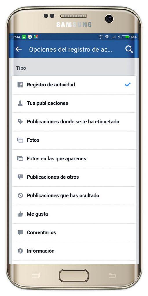 registro de actividad de Facebook
