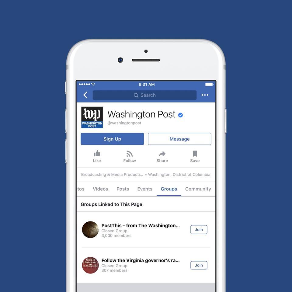 grupos para páginas de Facebook