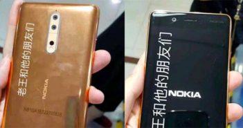 fotos de un Nokia 8 de color cobre dorado