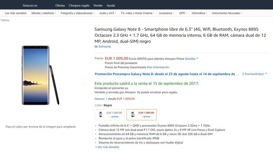 precio del samsung galaxy note 8