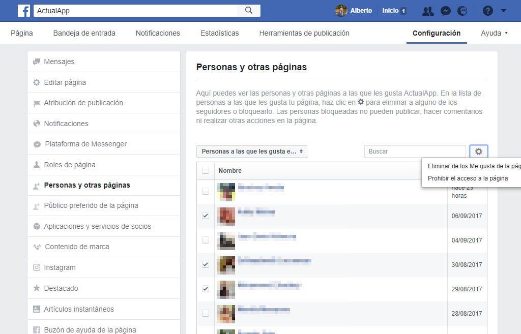 bloquear el acceso a alguien en una página de Facebook