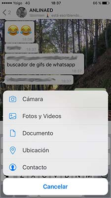 enviar un gif a traves de whatsapp con un iphone 2