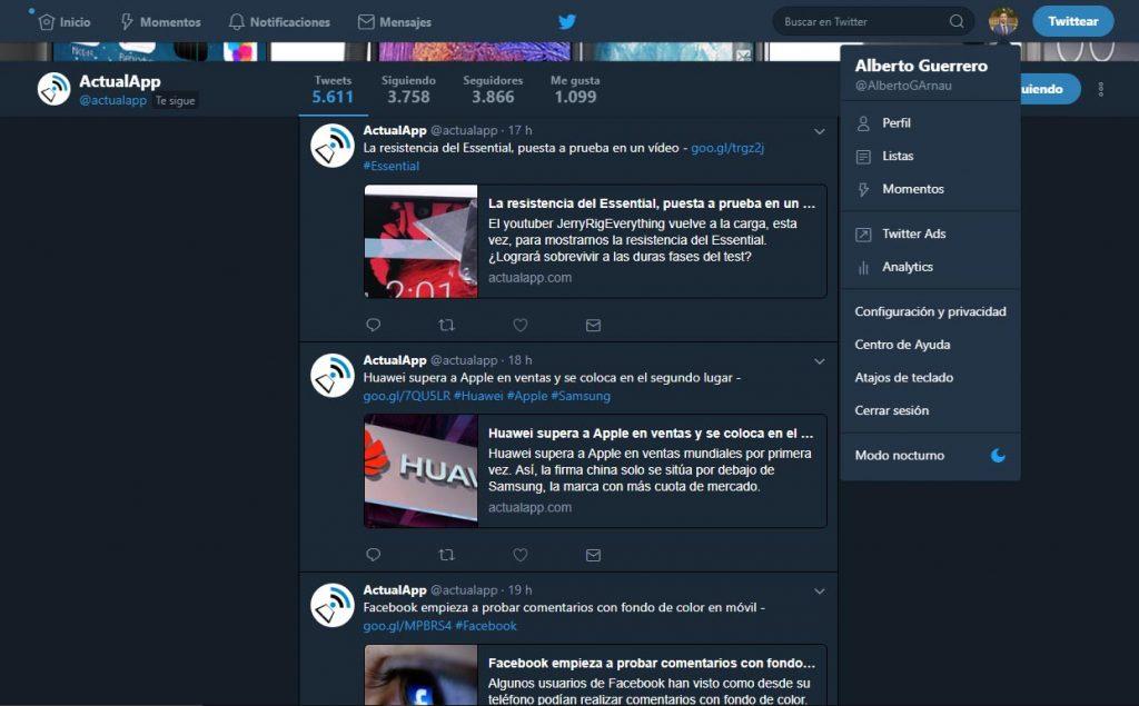 activar el modo nocturno de twitter web