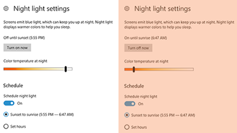 modo luz nocturna de windows 10