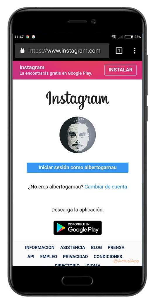 historias a Instagram desde el navegador