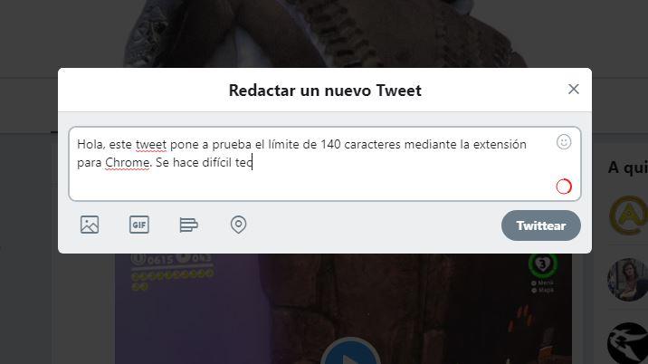 limitar tus tweets a 140 caracteres