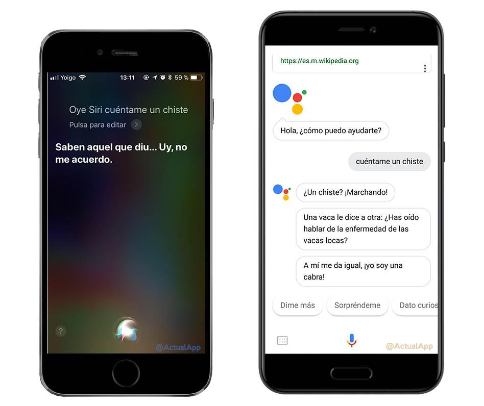 comparativa entre Siri y Google Assistant