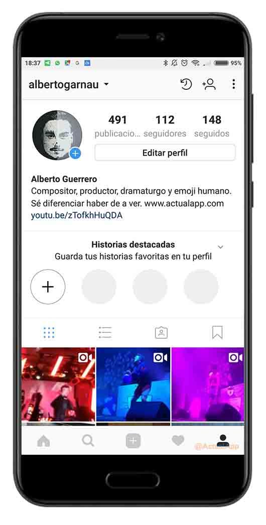 historial de búsquedas de Instagram