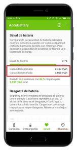 estado de la batería de un smartphone Android