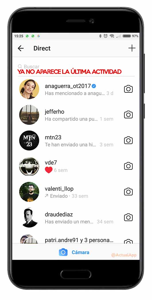 última hora de conexión en Instagram