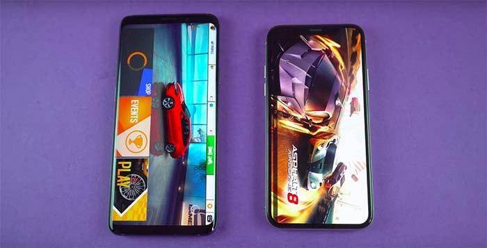 test de velocidad entre el galaxy s9 y el iphone x