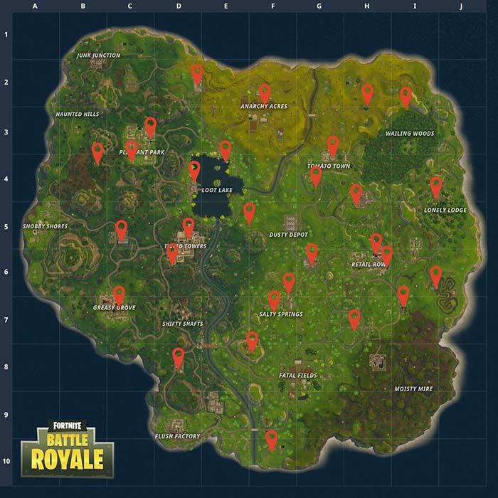 Mapa con la ubicacion de las maquinas expendedoras de Fortnite