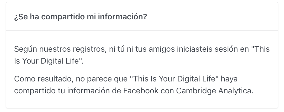 comprobar si facebook ha compartido datos