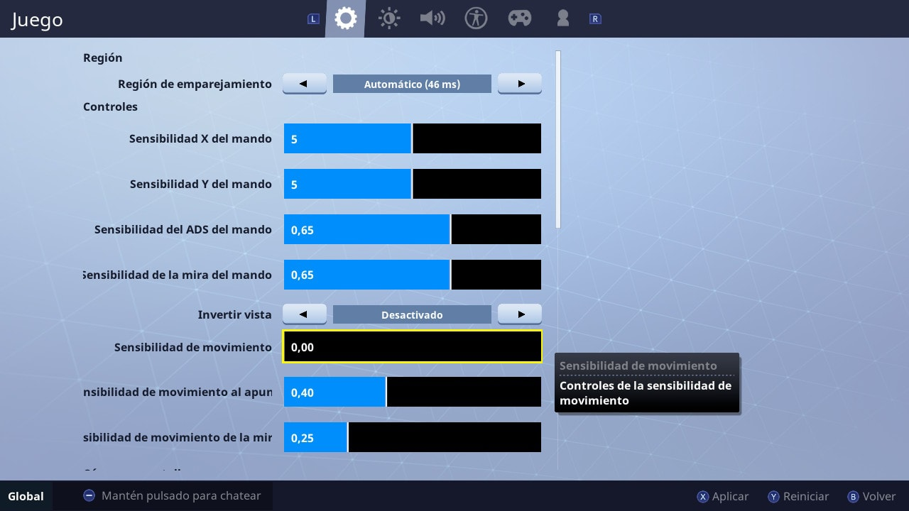 giroscopio en Fortnite para Nintendo Switch