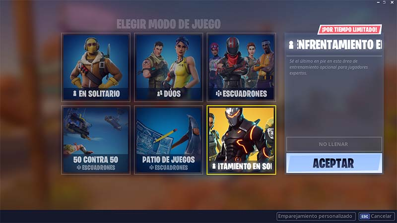 enfrentamiento en solitario de fortnite