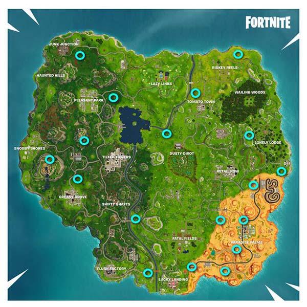 mapa con las grietas de fortnite