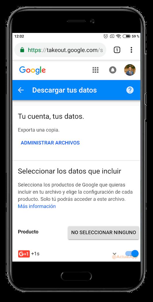 descargar tus datos de google+