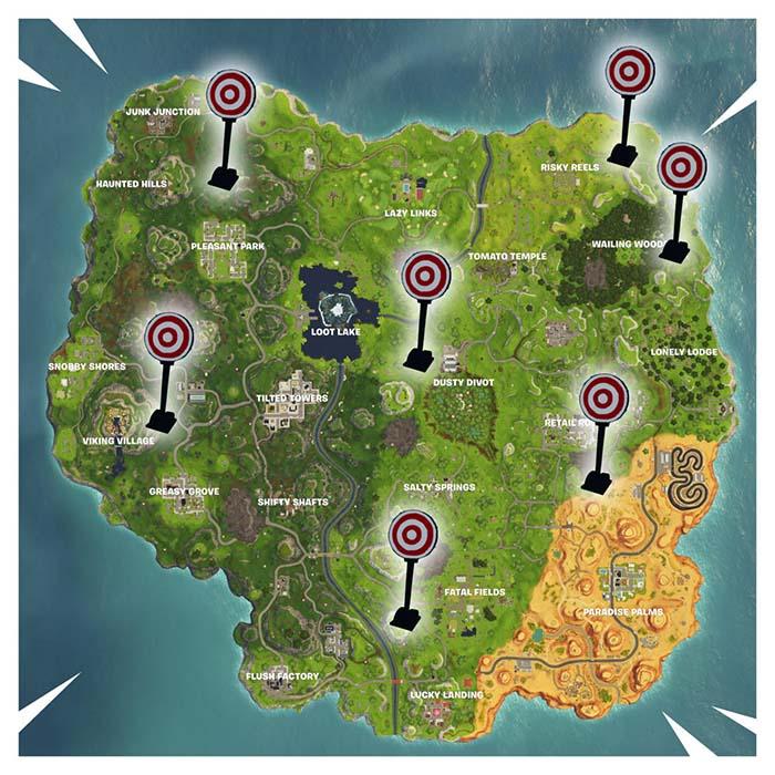 mapa con las galerias de tiro de fornite