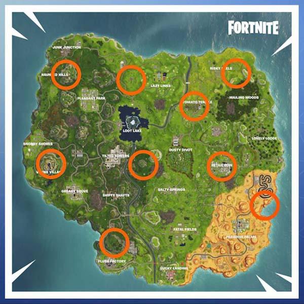 mapa con las gargolas de fortnite
