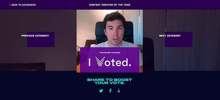 votar a willyrex en los the game awards