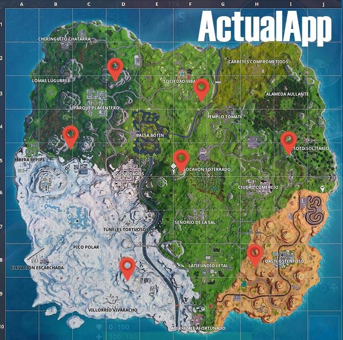 mapa con los puestos de avanzada de fortnite