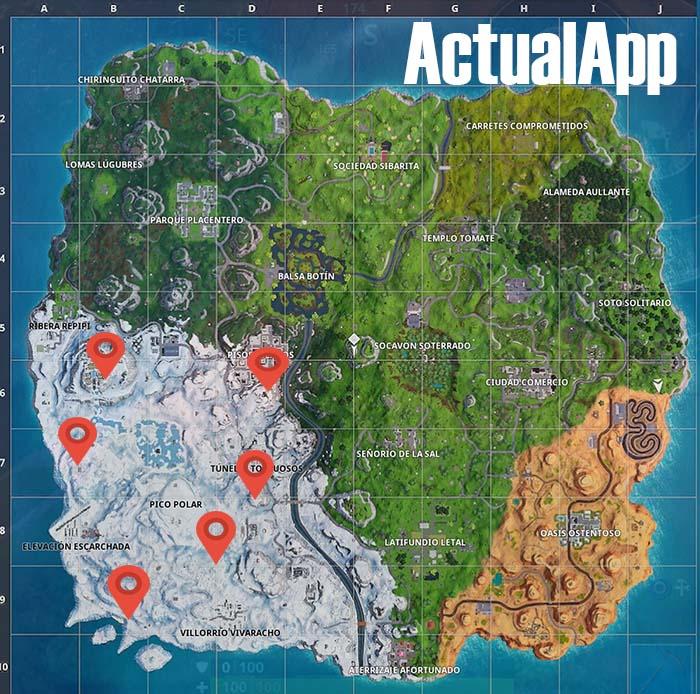 mapa con los gnomos congelados