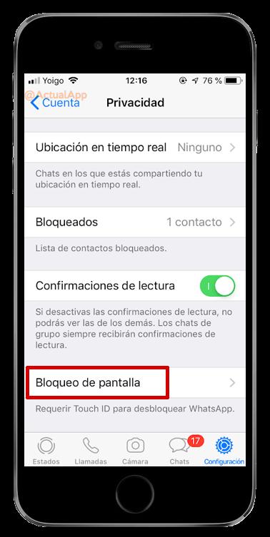 bloquear WhatsApp con Face ID o Touch ID